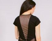 Designer black sheer mesh paneled shirt - minimal fashion top - Rogue:Minx