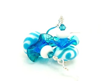 Teal Blue and White Earrings, Lampwork Earrings, Glass Earrings, Ruffle Earrings, Beadwork Earrings, Unique Earrings, Lampwork Earrings
