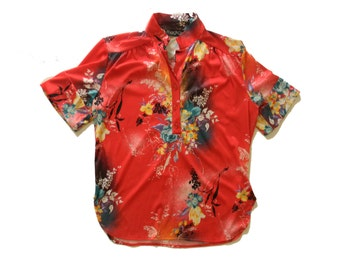 Vintage Womens Floral Blouse -  Buttoned Short Sleeve Collared Hawaiin Style Shirt Blouse 70s 80s Blouse