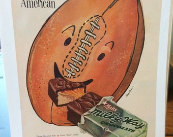 Milky Way ad circa 1953 All American football 9 1/2 x 13.