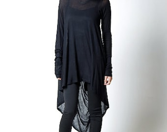 Black Tunic / Loose Fitting Top / Asymmetrical Blouse / Long Sleeve Tunic / Casual Tunic / Everyday Shirt/ Marcellamoda - MB0103