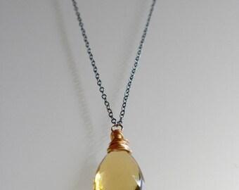 Ready To Ship - Lemon Smokey Quartz Drop Necklace