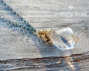 Ready To Ship -  Spiral Faceted Quartz Necklace.