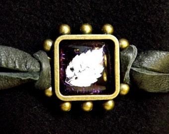 Black Leather and Antiqued Brass Fused Glass Leaf Bracelet