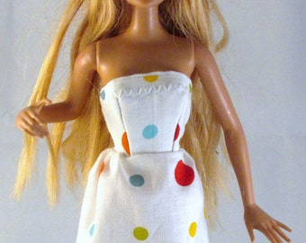 Barbie Doll White Polka Dotted Barbie Doll  Mini Dress~Ready for a day of fun!