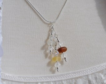 Genuine Sea Glass Triple Drop Necklace with Crystals 9983C