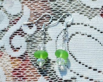 Genuine Sea Glass Lovely Beach Earrings Lime Green and Clear Crystals 5908