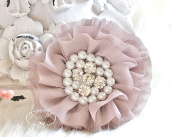 Reilly Collection: 2 pcs Natural PINK BEIGE Soft Chiffon Ruffled Fabric Flowers w/ Rhinestones Pearls - Layered Bouquet fabric flowers