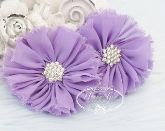 "2 pcs 3"" Adeila - PALE LAVENDER Shabby Frayed Vintage Chiffon Ruffle Flowers with Rhinestone,applique , hair accessories"