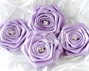 "Allure - Lilac LAVENDER (4pcs) 2"" inch Rhinestone Rosette Fabric Flowers. Rose Bud Satin Ribbon Flowers. DIY Supplies."
