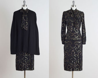 Adrian of Boston . vintage 1940s dress . vintage cape and dress . 4763
