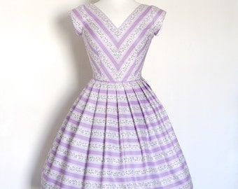 Size UK 12 - Lilac Floral Stripe V-Neck Panelled Dress - Made by Dig For Victory