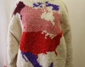 North America Map Knit Pullover Winter Sweater / Large L