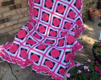 Floral Bright Pink Rose Afghan with Ruffles, Satin Ribbons and Bows - Made Fresh After Sale - 35 squares
