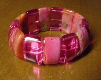 Vintage 1960's Pink Lucite Bracelet