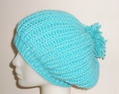Hand Knit Turquoise Hat Womens Hat Slouchy Hat Woman Winter Fashion Winter Accessories