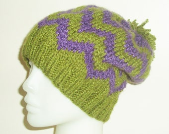 Chevron slouchy beanie Women's Hat in Green purple chevron knit womens hat slouchy