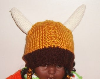 Hand Knit Hat / Viking Hat with Viking Horns Kids Viking Hat / toddler gift / Birthday Gift
