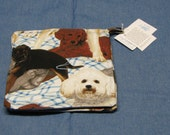 1 Set of 2 Dog Pot holders handmade Made in Maine by Carol's Country Crafts blue backs various dogs
