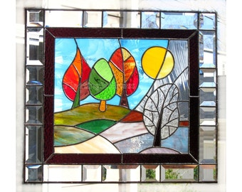 Stained Glass Panel Change of Seasons MADE TO ORDER Handmade