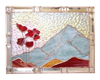 Poppies Stained Glass Panel Suncatcher Red Stained Glass Poppy Window Panel Handmade OOAK