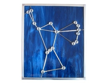 Orion Constellation Blue Stained Glass Panel Suncatcher Star Handmade OOAK