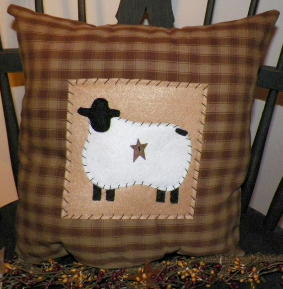 UNSTUFFED Primitive Pillow Sheep Country Rustic Home Decor
