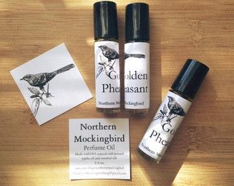 Golden Pheasant Perfume Oil 1/3 oz. Roll-on Tube Unisex Scent Patchouli Ylang Ylang Bergamot Lavender Lemon Essential Oil Fragrance