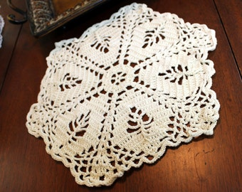 Vintage Crochet Doily - 14 inch Filet Crocheted in French Cream Shade 11812