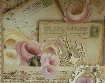Shabby Pink Decor Altered Lace Art Vintage Marie Antoinette Collage Hand painted Roses