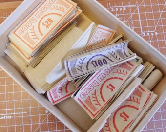 Vintage Easy Money Paper Game Money and Instructions 1936