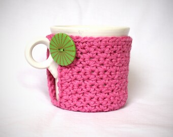 Mug Cozy, Cup Cosy and Coaster Crochet Pink with Big Green Button