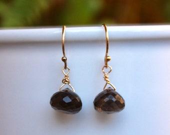 SALE! Simple Smoky Topaz Earrings, Brown Topaz Gemstone Earrings, Gold Earrings, Basic Gemstone Earrings, Lightweight, Minimalist, Simple