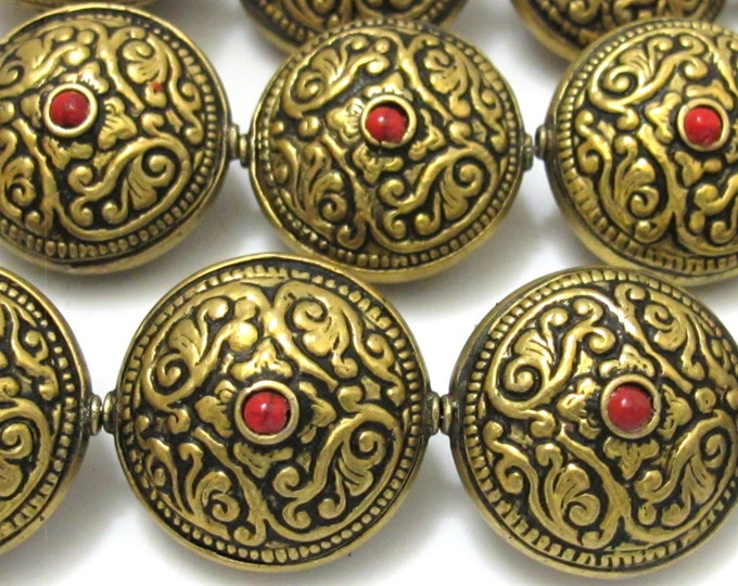 2 BEADs- Reversible Tibetan brass bead antiqued gold tone with floral repousse design  - BD624C