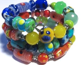 Memory Wire Bangle with Kazuri Beads, Glass Beads and Semi Precious Stones