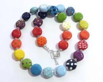 Rainbow Coloured Beaded Necklace, Ceramic Jewelry, Kazuri Bead Necklace