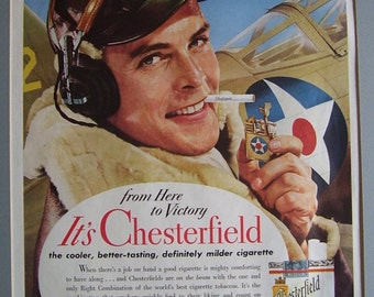 Vintage Chesterfield Cigarette  with Lighter Magazine Print Ad, 1942, Airplane Pilot  WW2, Aircraft  Advertisement Ad, Scrapbooking Ad