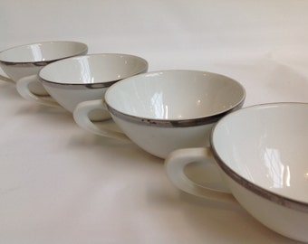 Vintage Silver Rim White China- Set of 4 - Modern - Fine China - Japan