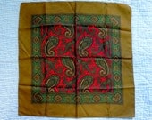 Classic vintage silk scarf, paisley design on gold, made in England