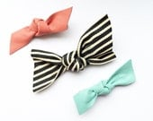 headbands-Leather and stripe knot bow -set of 3