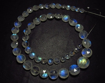 AAAA - High Quality So Gorgeous - Rainbow Moonstone - Faceted Coin Briolettes - Blue Flashy Strong Fire size - 4 - 10 mm - 45 pcs