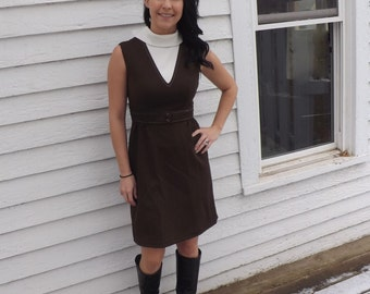Brown Mod Dress Sleeveless Vintage 70s Mini XS S 34 Bust