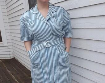 Retro Striped Dress 80s Vintage White Blue Cotton 1980s XXL Plus 20
