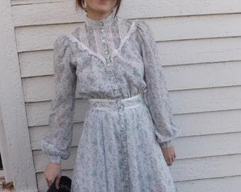 Vintage 70s Gunne Sax Dress Blue Floral Print XS 5 Prairie Summer Midi