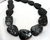 Gemstone Bead, various size Quartz Black Center Drilled Pendant Beads, Range from 20 to 30mm  Per PIECES