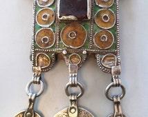 Old Berber Moroccan original tribal silver enamel Hirz / Herz pendant necklace, ethnic tribal jewelry.