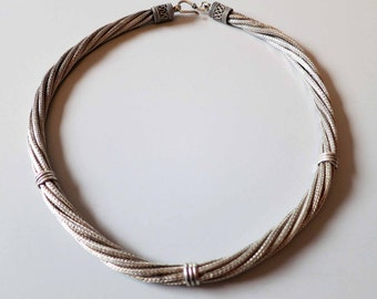 Vintage Rajasthan - India high silver quality 7 strand necklace.