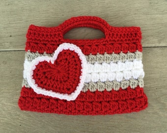 Red, gray, and White Valentines heart Purse Kids Crochet Purse