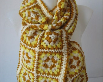 Granny square scarf, crochet, unique design, warm, hippie style, yellow and white colors, handmade, bohemian, patchwork,gorgeous,lady gift