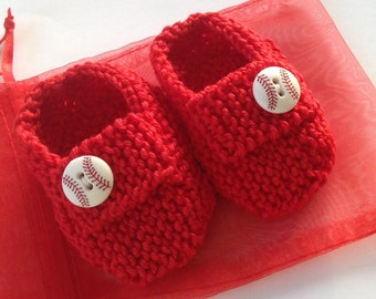 Baseball baby gift set - hand knit bright red loafers with baseball buttons, red gift bag Boston Red Sox, other colours available